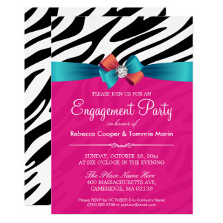 Engagement Party - Hot Pink Zebra Print Ribbon Bow Card