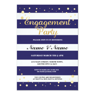 Engagement Party Navy Stripe Gold Glitter Invite