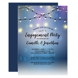 Engagement Party Romantic Outdoor String Lights Card
