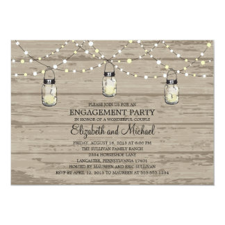 Engagement Party Rustic Wood Mason Jar and Lights 13 Cm X 18 Cm Invitation Card