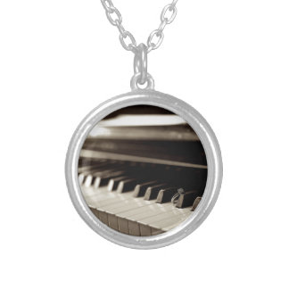 Engagement Piano Keys Round Pendant Necklace