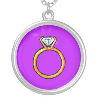 Engagement Ring (purple) Round Pendant Necklace
