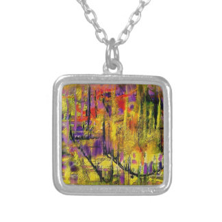 Engaging Yellow and Black Abstract Silver Plated Necklace