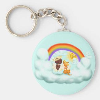 Engel und Hund Basic Round Button Key Ring