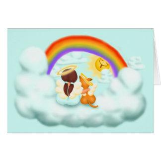 Engel und Hund Greeting Card