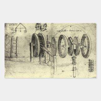 Engineering Sketch of a Wheel by Leonardo da Vinci Rectangular Sticker