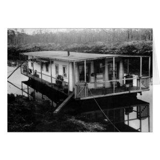 Engineer's Houseboat, Florida Everglades, 1915 Card