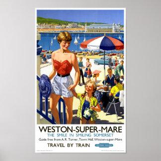 England Weston Super Mare Vintage Travel Poster