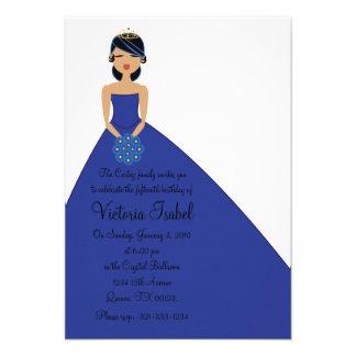 english BLUE PRINCESS quinceanera invitation