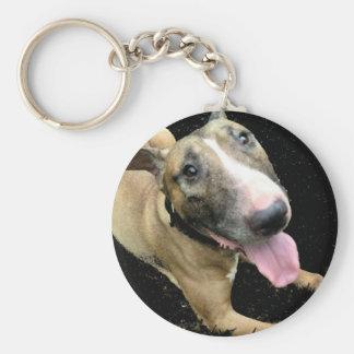English Bull Terrier Button Keyring Keychain