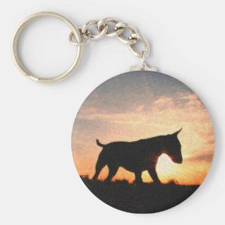 English Bull Terrier & Sunset, Oil Paint Style Key Ring