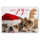 English Bulldog Santa And Reindeer Card