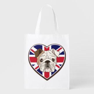 English Bulldog & Union Jack Resusable Tote Bag