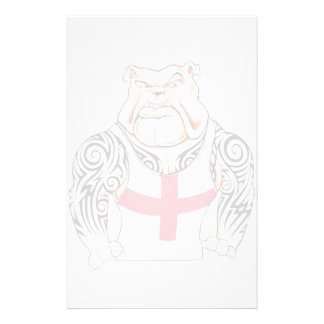 English Bulldog with Tribal Tattoos Stationery