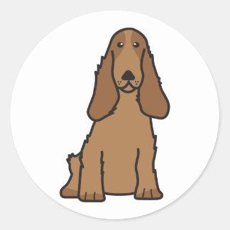 English Cocker Spaniel Dog Cartoon Classic Round Sticker