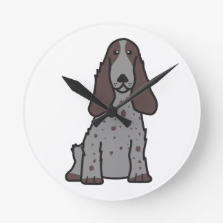 English Cocker Spaniel Dog Cartoon Clocks