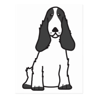 English Cocker Spaniel Dog Cartoon Postcard