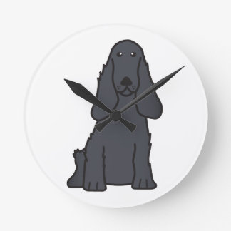 English Cocker Spaniel Dog Cartoon Round Clock