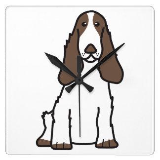 English Cocker Spaniel Dog Cartoon Square Wall Clock