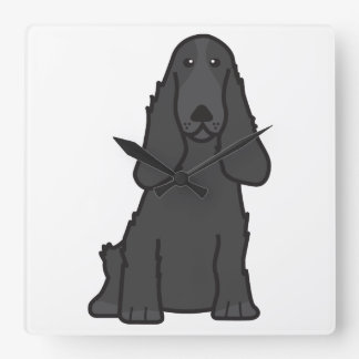 English Cocker Spaniel Dog Cartoon Square Wall Clock