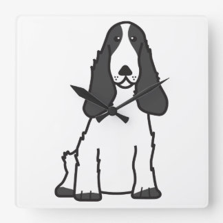 English Cocker Spaniel Dog Cartoon Wallclocks