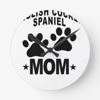 English Cocker Spaniel MOM.png Round Clock