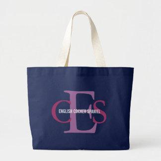 English Cocker Spaniel Monogram Design Large Tote Bag