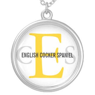 English Cocker Spaniel Monogram Design Silver Plated Necklace