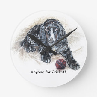 English Cocker Spaniel with Cricket Ball painting Clock