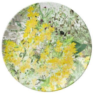 English cottage garden porcelain plate