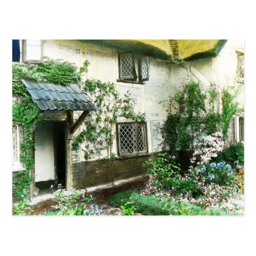 English cottage garden with ivy framing the door post card