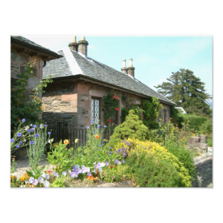 English Cottage II with Flower Garden Photography Photograph