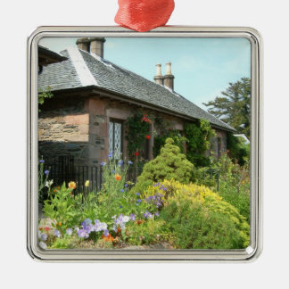 English Cottage II with Flower Garden Photography Silver-Colored Square Decoration