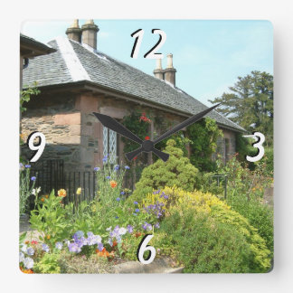 English Cottage II with Flower Garden Photography Wallclocks