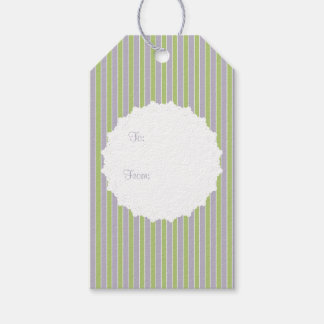 English Cottage Lilac & Green Striped w Lace Doily