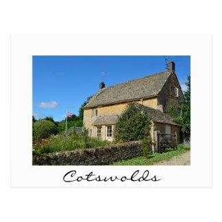 English cottage with garden white postcard