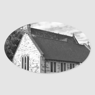 English Country church Oval Sticker