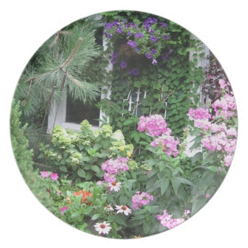 English Country Cottage Garden Plate