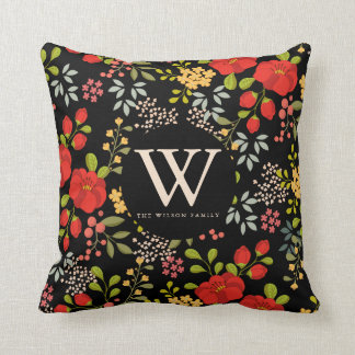 English Garden Modern Floral Personalized Throw Pillow