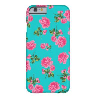 English garden pink roses iPhone 6 case - teal