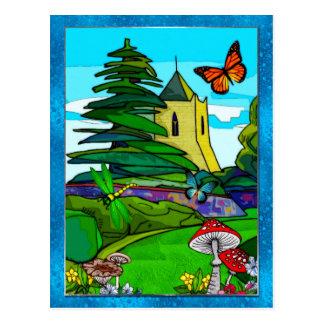 English Garden Whimsical Folk Art Postcard