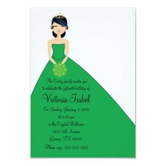 """english GREEN PRINCESS quinceañera invitation 3.5"""" X 5"""" Invitation Card"""