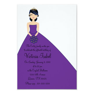 """english PURPLE PRINCESS quinceañera invitation 3.5"""" X 5"""" Invitation Card"""