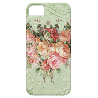 English Rose Bouquet, Vintage n Modern Swirl Leaf iPhone 5 Case