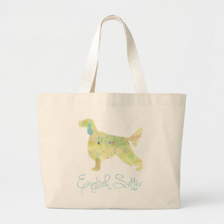 English Setter Watercolor Large Tote Bag