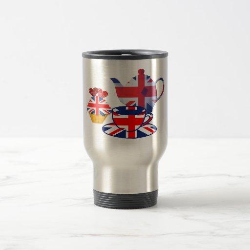 English Tea-time, Union Jack Art Gifts Stainless Steel Travel Mug