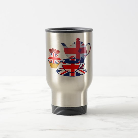 English Tea-time, Union Jack Art Gifts Travel Mug