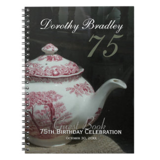 English Teapot 75th Birthday Party Guest Book Spiral Note Books