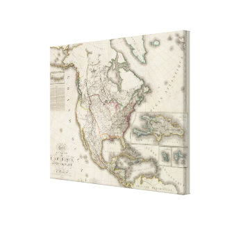 Engraved Map of North America Stretched Canvas Prints