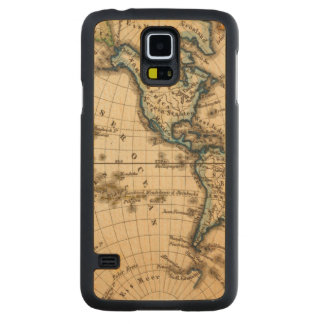 Engraved Western Hemisphere Map Carved Maple Galaxy S5 Case